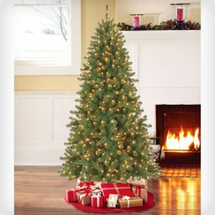Artificial Pre-lit Pencil Christmas Tree with 300 Clear Lights