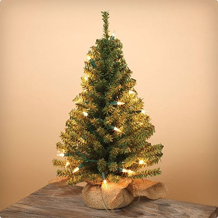 Artificial Tabletop 18 Inch Pine Tree With Burlap Sack Base