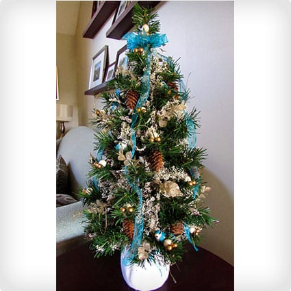 Blue Tabletop Christmas Tree With Decorations