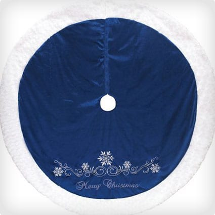 Blue/White Round Merry Christmas Snowflake Tree Skirt