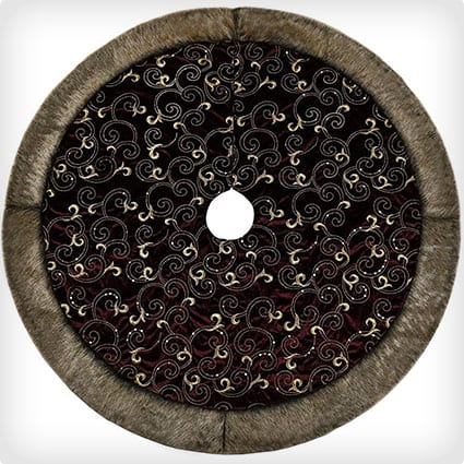 Burgundy and Gold Christmas Tree Skirt