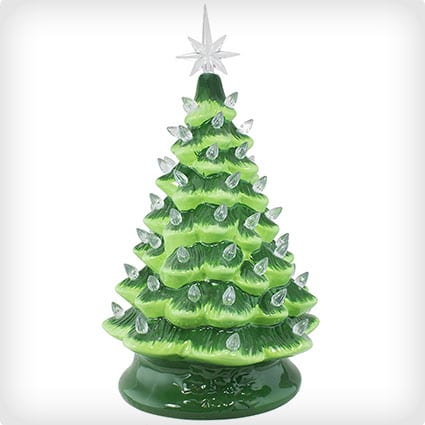 Christmas Is Forever 16 Inch Green Tree with White Lights