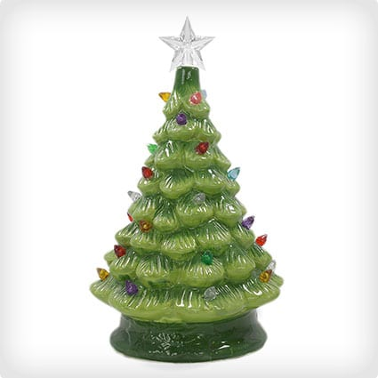 Christmas Is Forever Ceramic Tree with Multicolored Lights