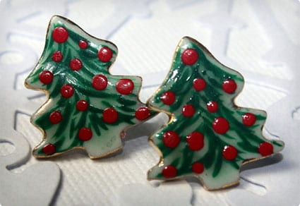 Christmas Tree Earrings Handmade Porcelain Ceramic Jewelry