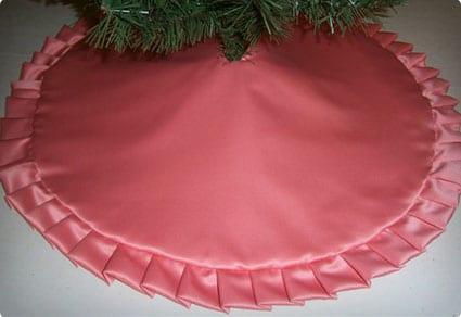 Coral Satin Christmas Pencil Tree Skirt