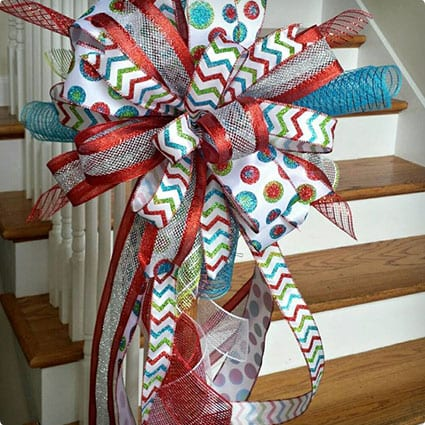 Deluxe Three Ribbon Christmas Tree Topper Bow