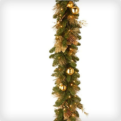 Elegance Garland with Berries, Pine Cones and Gold Leaves