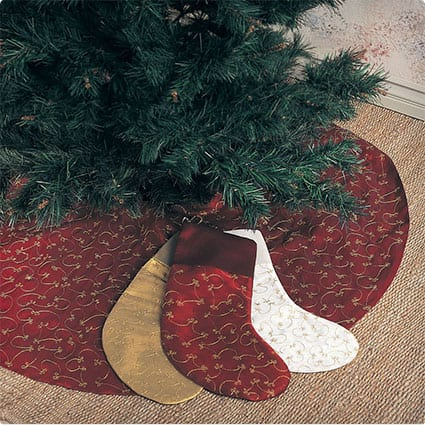 Elegant Gold Embroidery Burgundy Christmas Tree Skirt