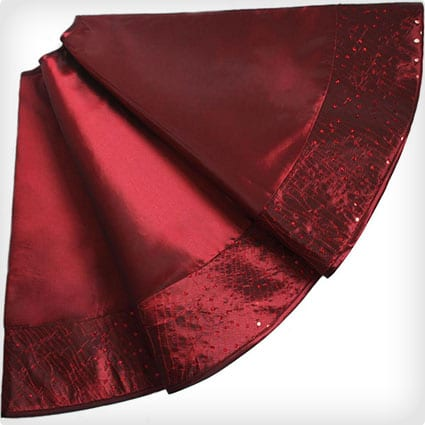 Faux Silk Centre,Glitter Sequin Border - Burgundy