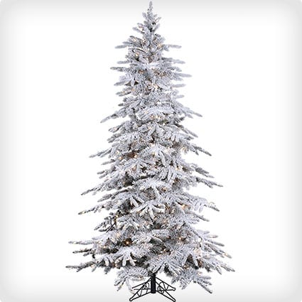 Flocked Bavarian Pine Artificial Tree With Lights And Snow