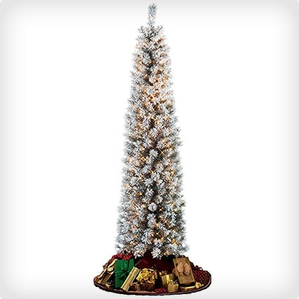 Flocked Pencil Slim Christmas Tree with Stay Lit Lights