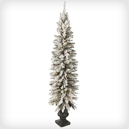 Flocked Potted Pre-Lit Artificial Christmas Tree