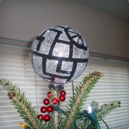 Glitterly Death Star Tree Topper
