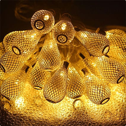 GlowGeek Mesh Ball AC 110V Fairy String Lights LED Christmas Lights