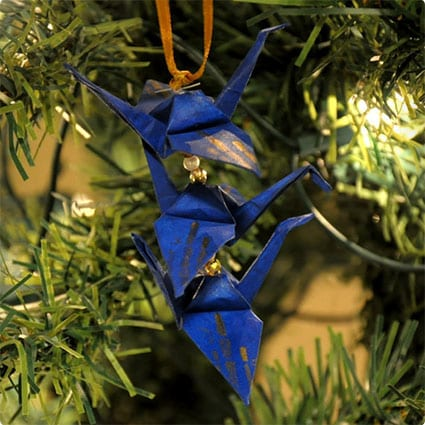 Gold Bamboo on Blue Origami Crane Trio
