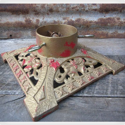 Gold and Red Chipping Vintage Christmas Tree Stand