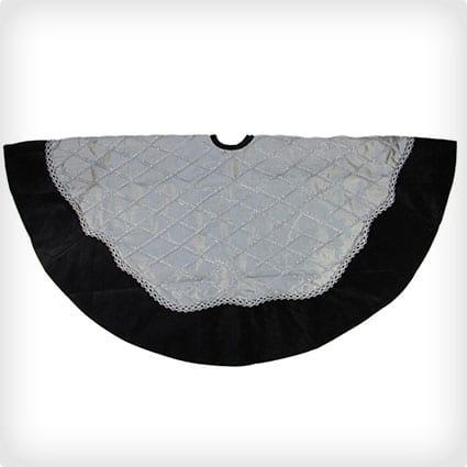 Gray and Silver Crisscrossed Christmas Tree Skirt with Black Velvet Border