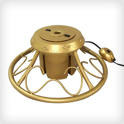 Heavy Duty Fancy Gold Metal Rotating Christmas Tree Stand