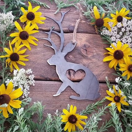 Jackalope Love Rustic Metal Recycled Steel Heart