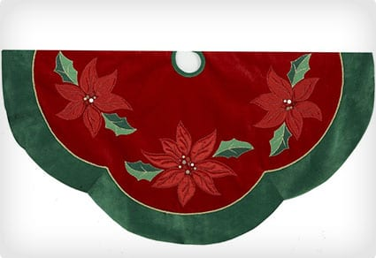 Kurt Adler Red/Green Poinsettia Scalloped Treeskirt, 48-Inch