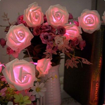 Leegoal Rose Flower Fairy String Lights 20LED
