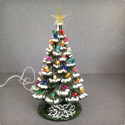 Lighted Ceramic Christmas Tree Standing 11 Inches Tall