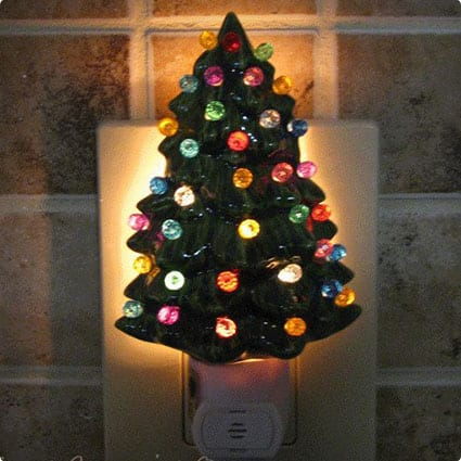 Little Ceramic Christmas Tree Night Light with Color Globes