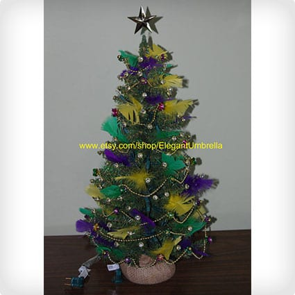 Mardi Gras Pre-Lit Tabletop Christmas Tree