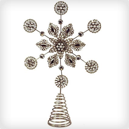 Metalwork Snowflake Tree Topper with Jewels and Pearls