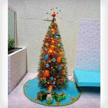 Mini Mid-Century Pre-Lit Tree With Atomic Topper