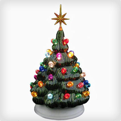 Mini Tabletop Ceramic Christmas Tree With Electric Lights