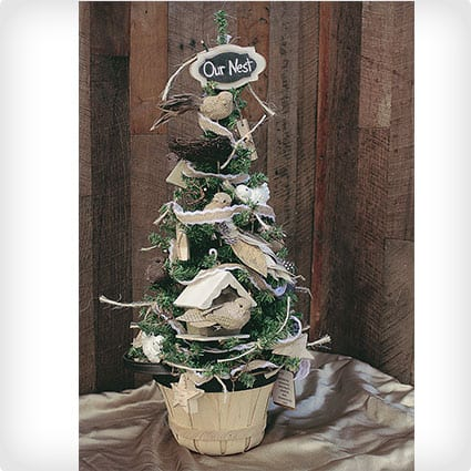 Our Nest Handmade Rustic Burlap Bird Pre-Lit Tabletop Tree