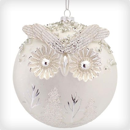 Pack of 6 Woodland Owl White and Silver Glass Ball