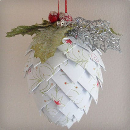 Paper Pinecone Ornament