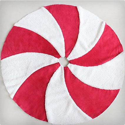 Patchwork Red Suede with White Sherpa Lollipop Design