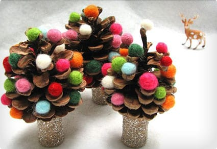 Pinecone Trees with Felted Wool