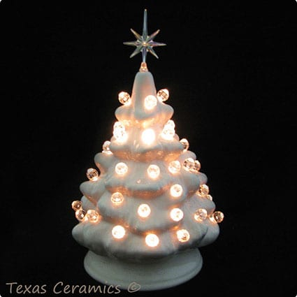 Pink Mini Ceramic Christmas Tree With Clear Lights