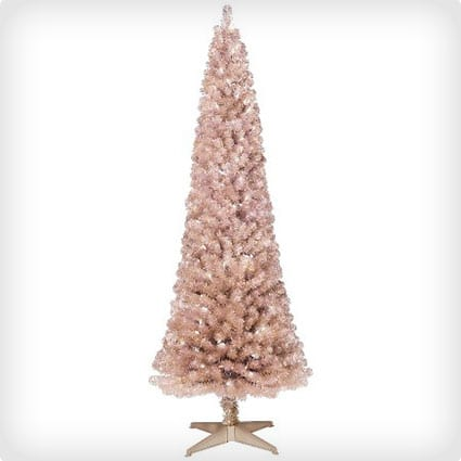 Pre-Lit Artificial Christmas Tree Slim Rose Gold Spruce