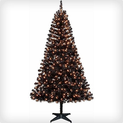 Pre-Lit Black Madison Pine Artificial Tree With Clear Lights