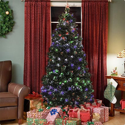 Pre-Lit Fiber Optic Tree With LED Multicolor Lights And Stand