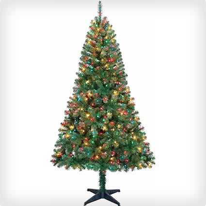 Pre-Lit Tree With Colored Lights & Shatterproof Ornaments