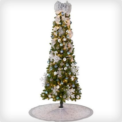 Pre-Lit Pine Christmas Tree with Colonial Blue Decoration Kit