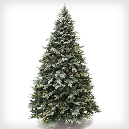 Pre-Lit Premium Frosted Tree With Clear Lights And Stand