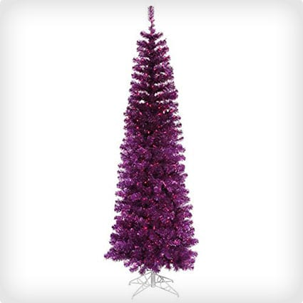 Pre-Lit Purple Tinsel Pencil Artificial Christmas Tree