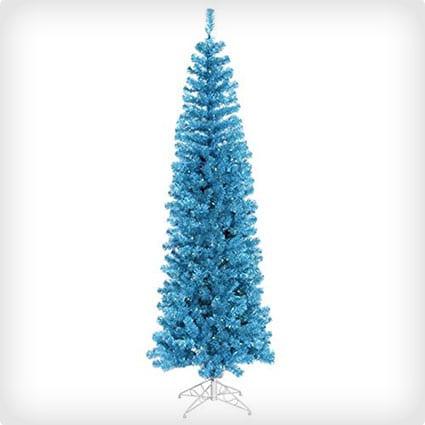 Pre-Lit Sparkling Sky Blue Pencil Artificial Christmas Tree