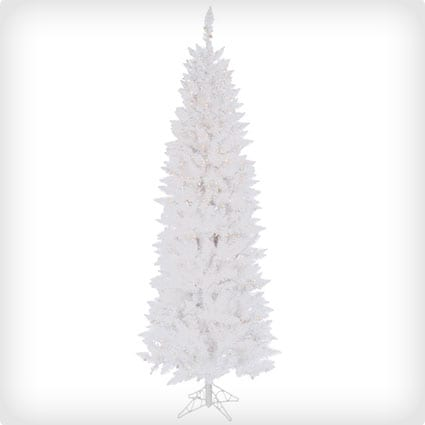 Pre-Lit Spruce Pencil Tree with Frosted Multicolored Lights