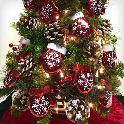 Pre-Lit Tabletop Tree With Shatterproof Mitten Ornaments