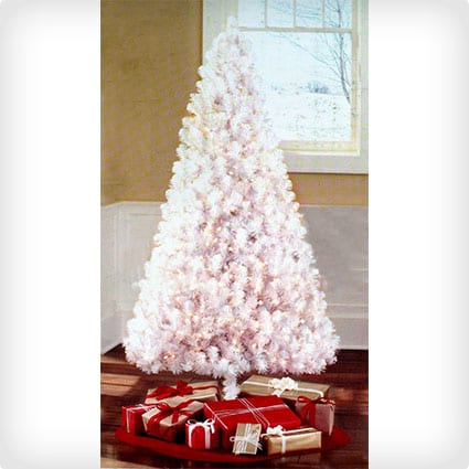 Pre-lit White Artificial Christmas Tree With 400 Clear Lights