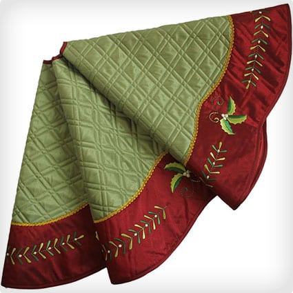Quilted Faux Silk Christmas tree skirt, Holly Leaves Embroidery Border