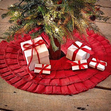 Red Burlap Ruffled Mini Tree Skirt 21""